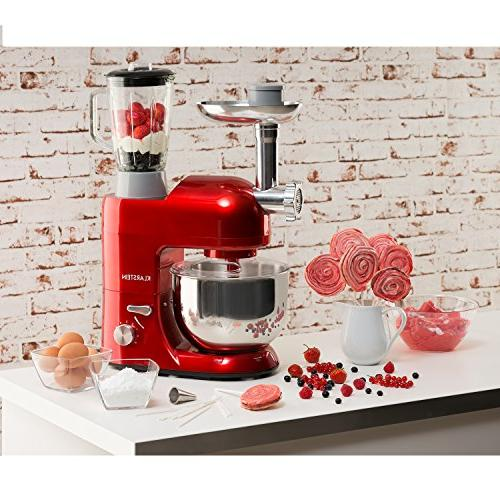 KLARSTEIN Lucia Rossa Machine Stand Mixer 650 Watts • qt Bowl • 1.3 Mixing Glass • • Pasta Maker • Blender