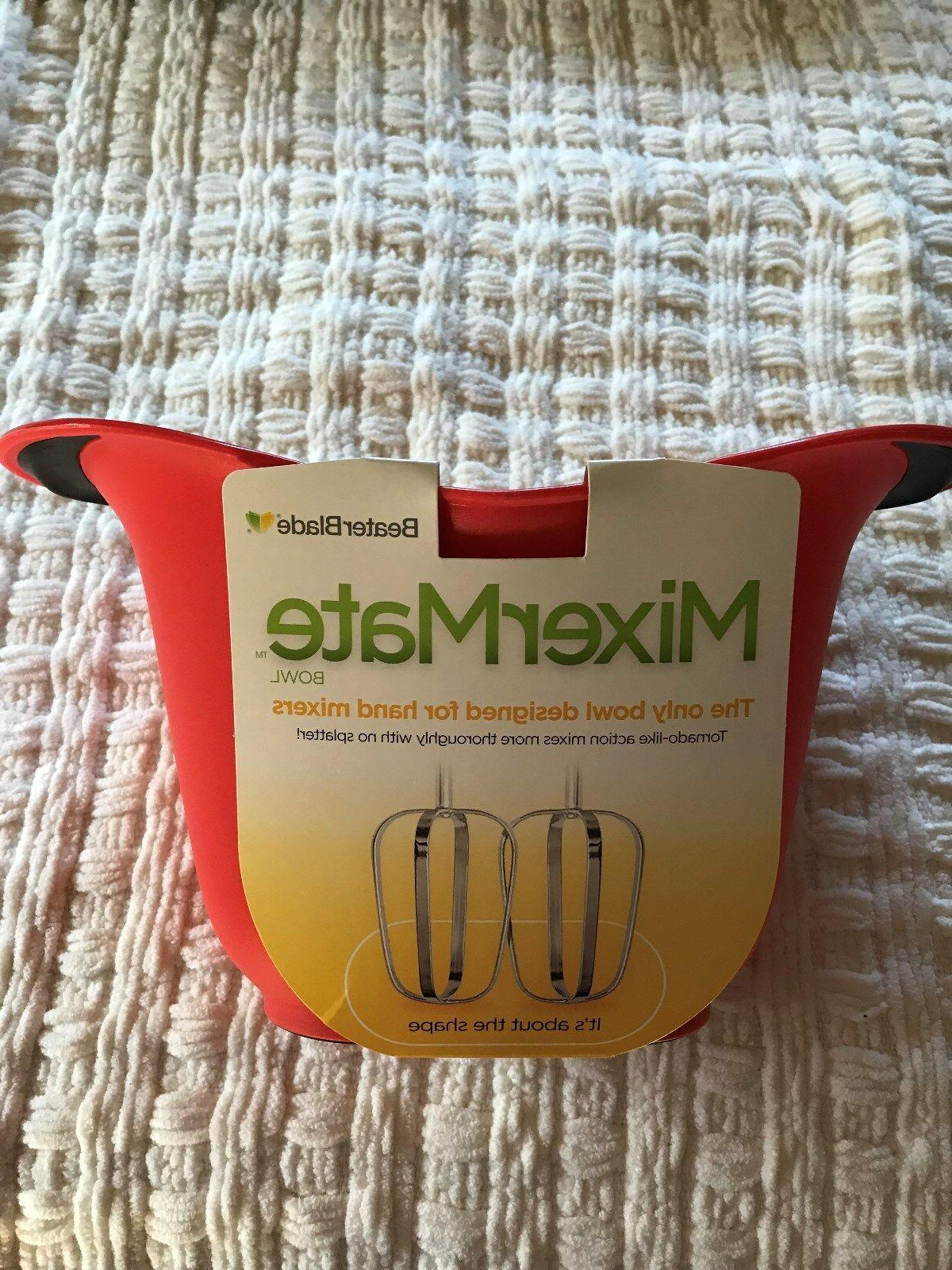 mixermate red mixing bowl for hand mixer