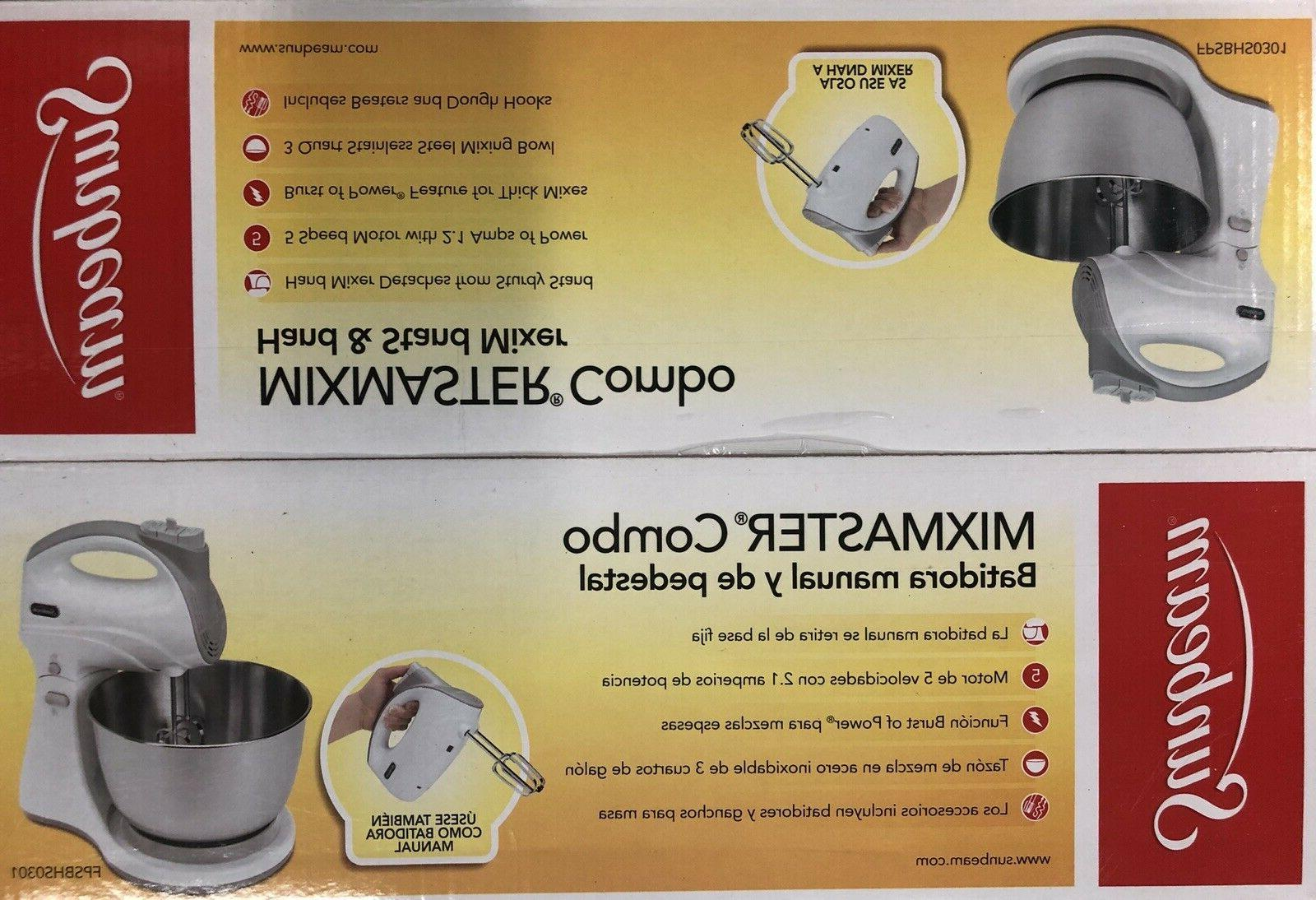 Sunbeam Mixmaster 250-W, Combo Hand/Stand Bowl. White or