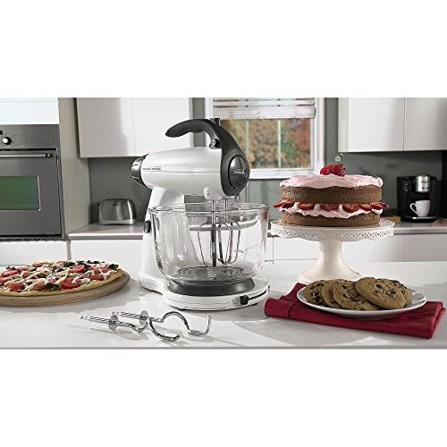 Sunbeam 12-Speed Stand Mixer, 2 Qt. and 4 Included, White