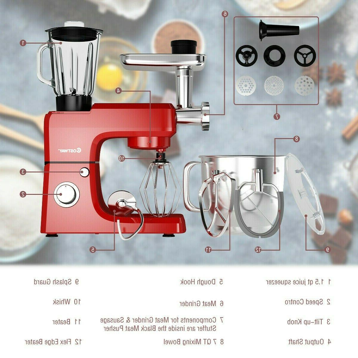 New 3 in1 Kitchen Food Machine Speed 7QT Tilt Dough Grinder Blender