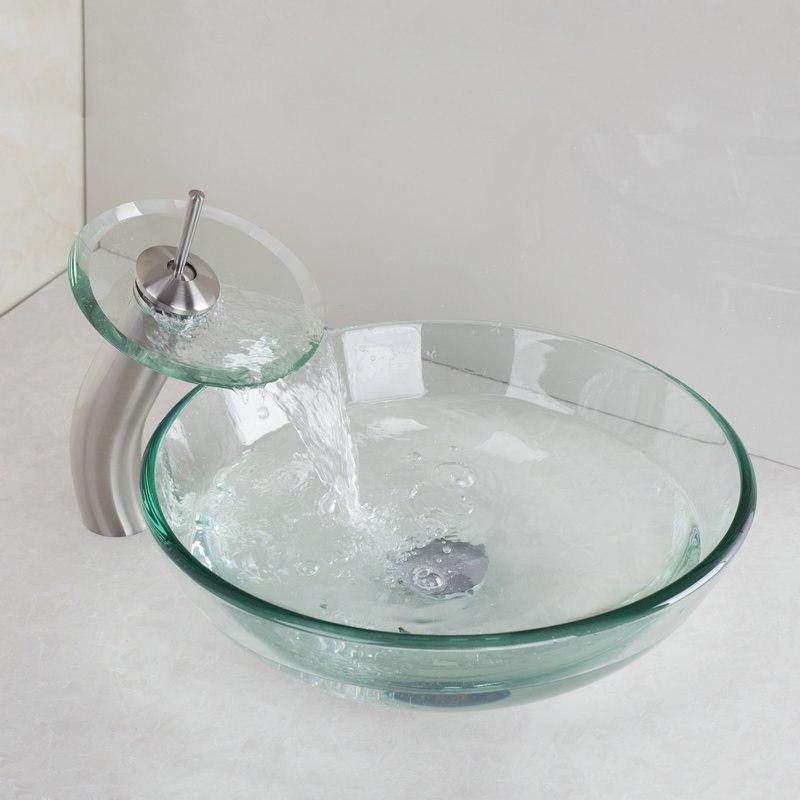 KEMAIDI Copper&Nickel Basin Faucet <font><b>Glass</b></font> <font><b>Bowl</b></font> Sink <font><b>Mixer</b></font> Set