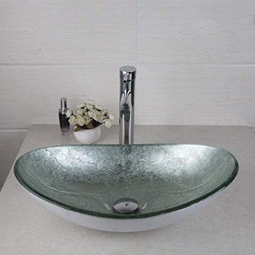 oval silver glass bathroom vessel