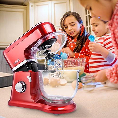 Betitay Mixer,6-Speed Kitchen Mixer Splash Guard,4.5 Glass Beater,Whisk,Dough Hook Brush