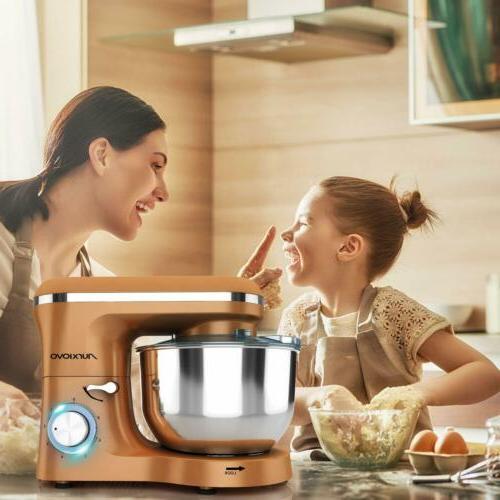 Stand Mixer Dough 6-Speed Tilt-Head Food Mixer Gold