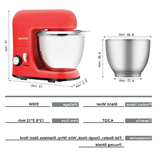 CHEFTRONIC 350W 6 Tilt-head Compact Kitchen 4.2 Bowl with for Mother's Day, Xmas, Wedding, Thanksgiving,