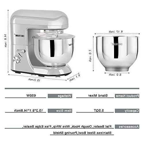 CHEFTRONIC mixers SM-986 5.5qt Mixing Bowl Speed Kitchen Electric with flex edge flat wire and splash guard.