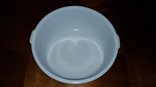 Vintage Glasbake MIxing Bowl Handles Milk 4 19 CJ