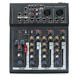 48V Professional 4-Channel Live Studio Audio Sound USB Mixer