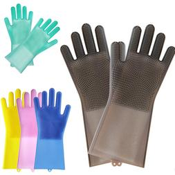Magic Reusable Silicone Gloves Cleaning Brush Scrubber Glove