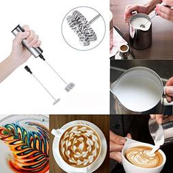 Iuhan Milk Frother Handheld Double Spring Whisk Head Powerfu