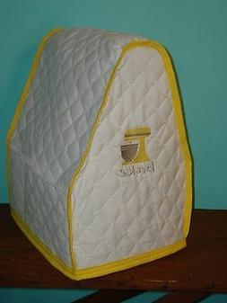 KitchenAid Mixer Appliance Cover~White Quilt~Yellow Trim~Bow