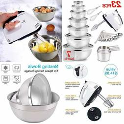 Mixing Bowls Set Electric Hand Mixer Stainless Steel Nesting