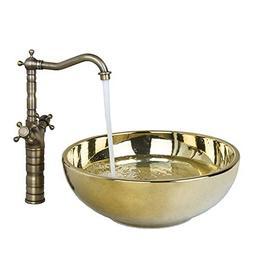 FidgetFidget Modern Luxury Gold Bathroom Ceramic Basin Sinks