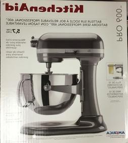 NEW KitchenAid 6Qt PRO 600 BOWL-LIFT STAND MIXER PEARL METAL