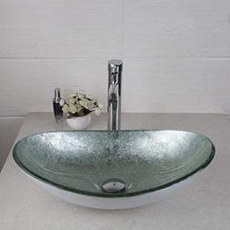 FidgetFidget AS Oval Silver Glass Bathroom Vessel Sink Bowl