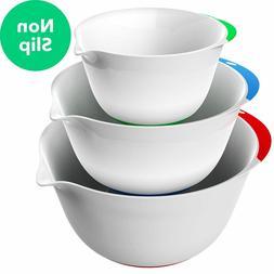 Vremi 3 Piece Plastic Mixing Bowl Set - Nesting Mixing Bowls