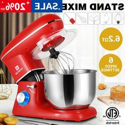 Pro Electric Food Stand Mixer 6.2 QT Tilt-Head 6 Speeds Stai