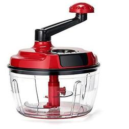 Momugs 8 Cup Red Food Processor, Manual Hand-Powered crank L