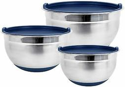 Premium Stainless Steel Mixing Bowls with Lids and Non-Slip