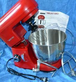 CHEFTRONIC Stand Mixer Tilt-head Dough Mixer Red 4.2 Qt Bowl