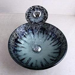 FidgetFidget US Hand Paint Bathroom Glass Vessel Sink Bowl W