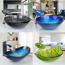 US Multi-color Bathroom Glass Vessel Basin Vanity Sinks Bowl